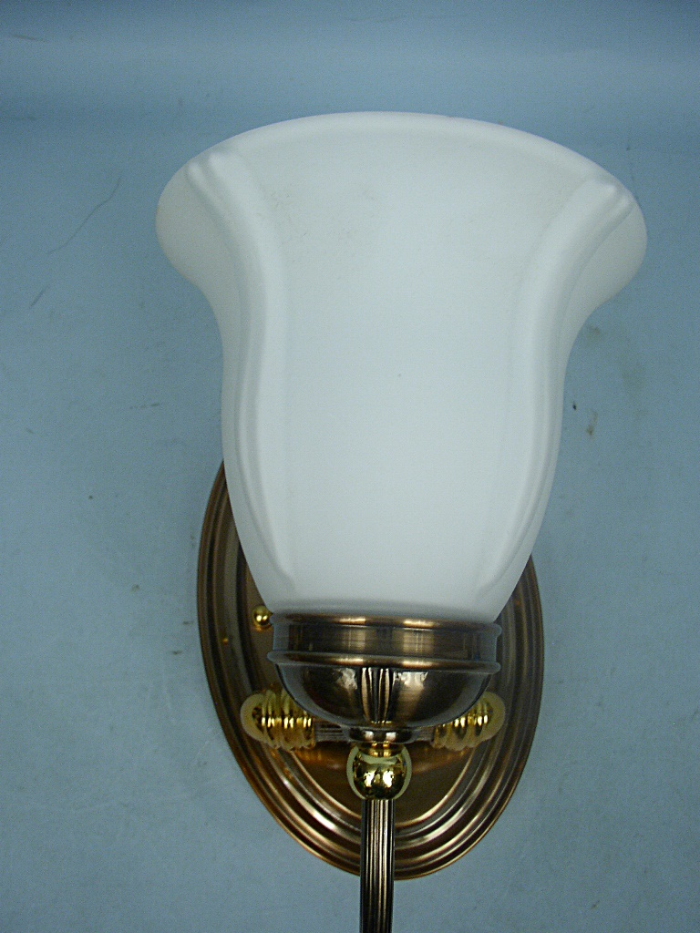 Brass Wall Sconce With Glass Shade : Copper & Brass Wall Mount Light Sconce With White Glass Shade eBay