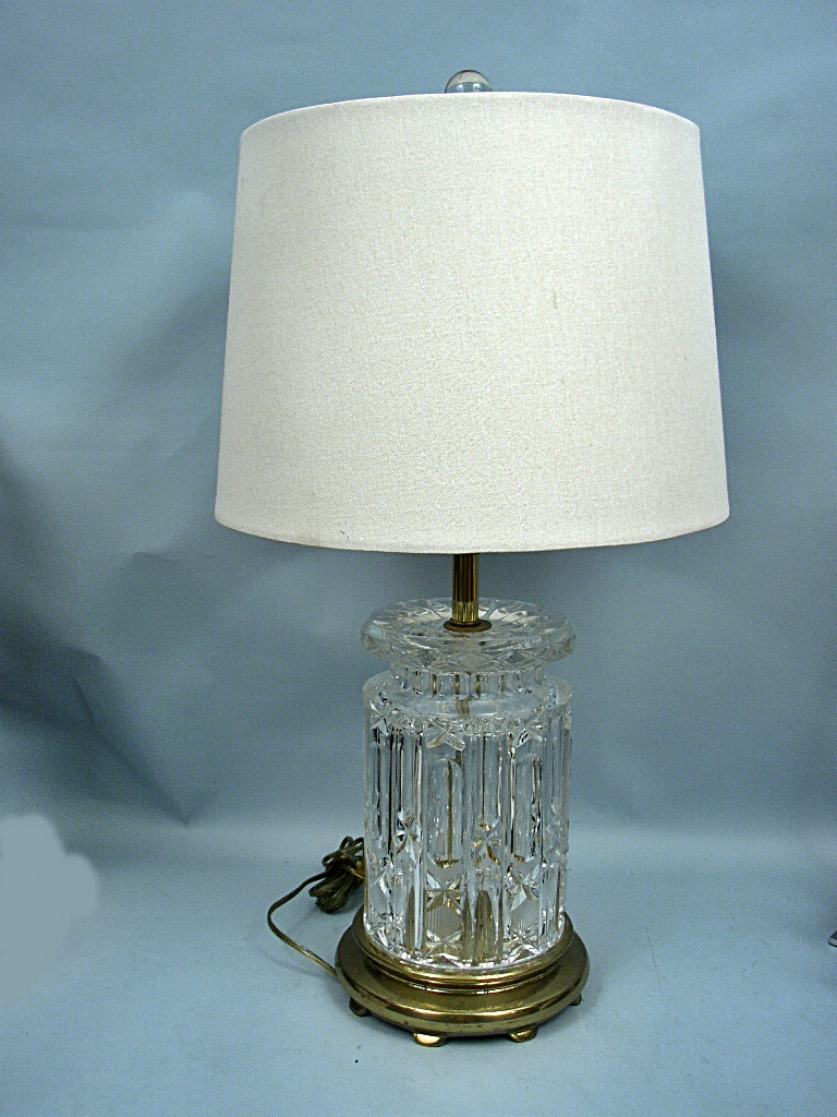 Vintage 26 Quot Lead Crystal Table Lamp With Drum Shade