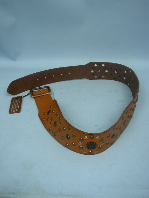 linea pelle handmade brown genuine leather studded belt